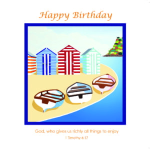 Boats Beach Huts Shirley Netherton Birthday Christian