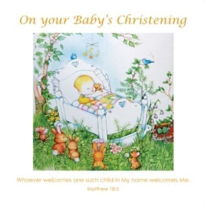 Bed Sleep Baby Teddy Bear Bunnies Angie Livingstone Christening Christian