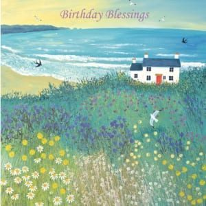 House Cottage Cove Sea Meadow Cliff Jo Grundy Birthday Christian