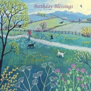Fields Path Flowers Birds Trees Dog Walk Jo Grundy Birthday Christian