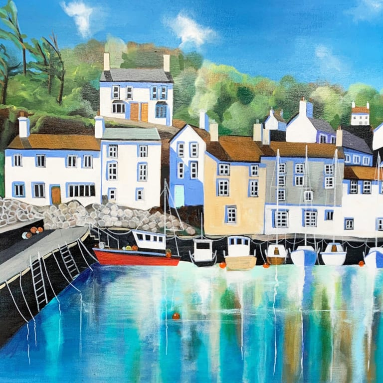 Fishing Village Houses Boats Harbour Carolyn Tyrer Nethertons